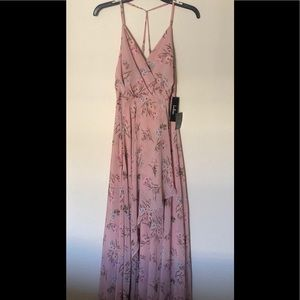 Pink Floral Maxi A-Line Dress  From Lulus